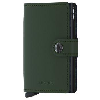 SECRID Matte Line - Green Leather Miniwallet with RFID