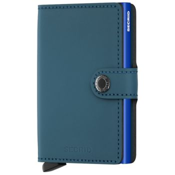 SECRID Matte Line - Petrol-Blue Leather Miniwallet with RFID