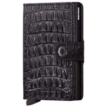 SECRID Nile Line Black leather Card Holder with RFID