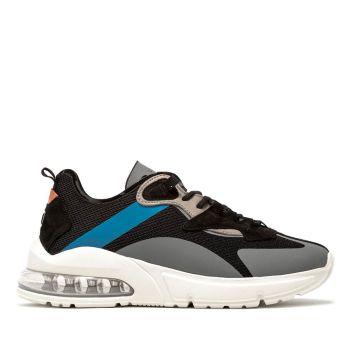 D.A.T.E.  Aura Net Line – Black Fabric Sneakers