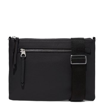 COCCINELLE Black Leather Woman Pochette with Strap Marzia Line