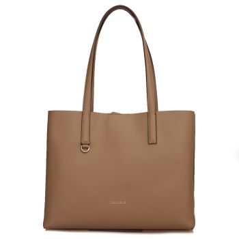 COCCINELLE Matinee Line – Taupe and Caramel Leather Shoulder Bag