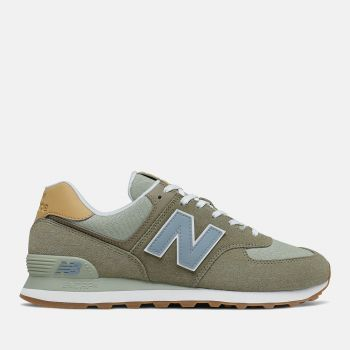 NEW BALANCE 574 Line–  Suede and Fabric Mushroom Color Sneakers