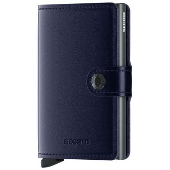 Miniwallet SECRID Metallic Line Genuine Leather Blue With RFID