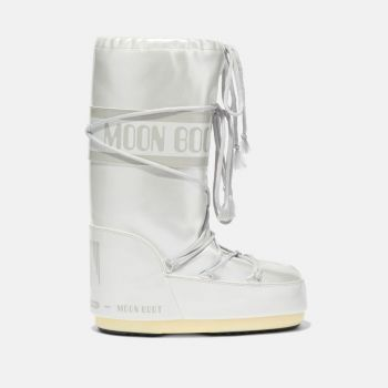 MOON BOOT Icon Light Grey Vinyl Boots for Her