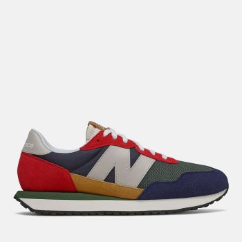 NEW BALANCE 237 Line – Multicolor Team Red Suede Mesh Sneakers