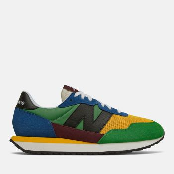 NEW BALANCE 237 Line – Blue Gold Suede and Mesh Sneakers