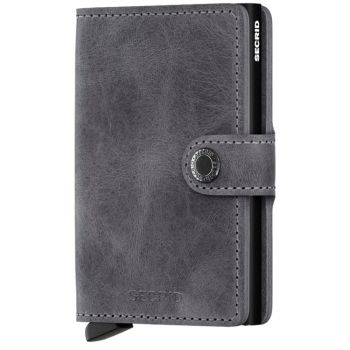 SECRID Vintage Line - Grey-Black Leather Miniwallet with RFID