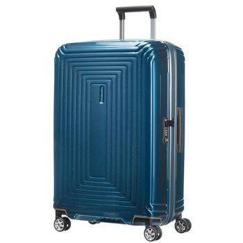 SAMSONITE Trolley Hard Shell Medium Size 4 Wheels 69 cm Neopulse Metallic Blue Line