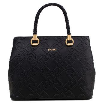 LIU JO Black Handbag with Logo All Over