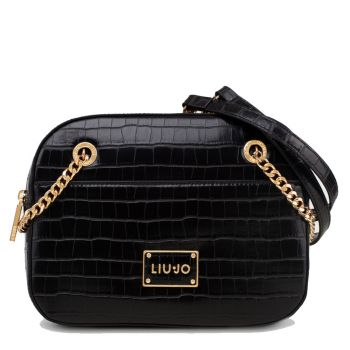 LIU JO Black Crocodile Effect Two Handles Crossbody Bag