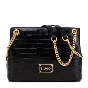 LIU JO Black Crocodile Effect Shoulder Bag