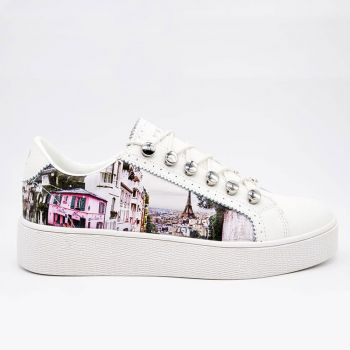 Y Not Sneakers with Paris Charleston Print for Women