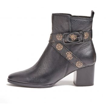 GUESS Patina Line – Black Leather Ankle Boots For Women