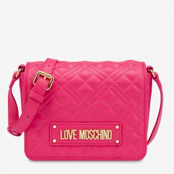 LOVE MOSCHINO New Shiny Quilted Line – Fuxia Shoulder Bag with Flap Closure