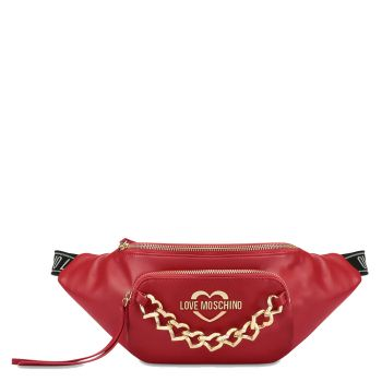 LOVE MOSCHINO Chain Hearts Line - Red Belt Bag
