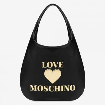 LOVE MOSCHINO Padded Heart Line – Black Hobo Bag JC4062