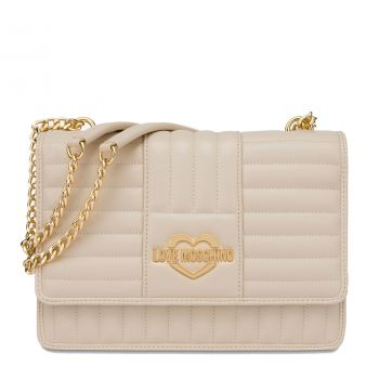 LOVE MOSCHINO Ivory Shoulder Bag with Stripe Quilted Effect