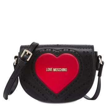LOVE MOSCHINO Heart Embroidery - Black Crossbody Bag with Red Heart