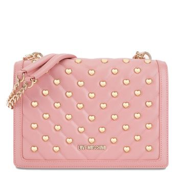 LOVE MOSCHINO Pink Shoulder Bag with Heart Studs