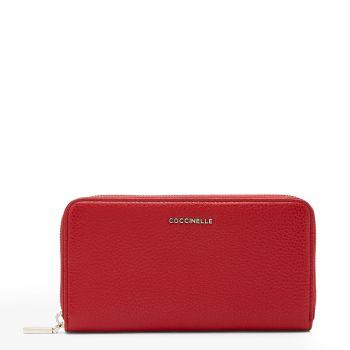 COCCINELLE Metallic Soft Line – Ruby Leather Zip Around Wallet