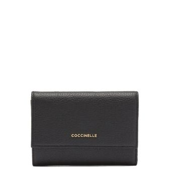 COCCINELLE Metallic Soft Line – Small Black Leather Wallet