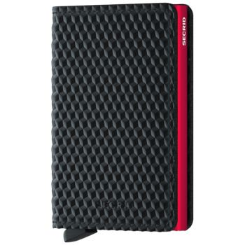 SECRID Cubic Line - Black and Red Leather Slimwallet with RFID