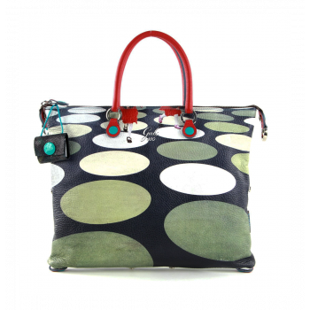 GABS G3 Super Line Large Leather Handle Bag with Pois Print