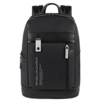 """PIQUADRO Downtown Line – Black Leather Backpack with 14"""" Pc and Tablet Compartment CA4545DT"""