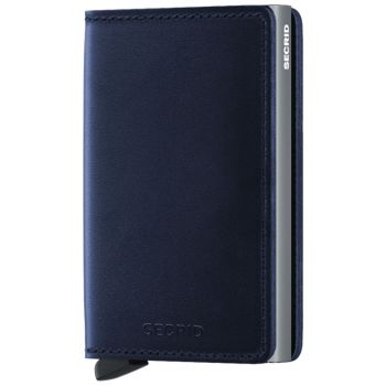 SECRID Polished Line - Navy Blue Leather Slimwallet with RFID