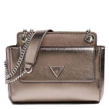 GUESS Sandrine Line – Pewter Shoulder Bag for Women