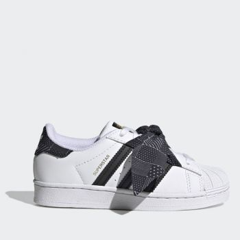 ADIDAS Superstar C Line – White Black Sneakers with Bow for Kids