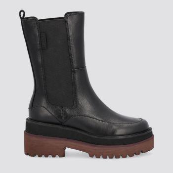 LIU JO Black Combat Boots with Bordeaux Details