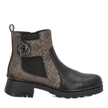 LIU JO Black Leather Boots with Brown Details and Monogram Logo