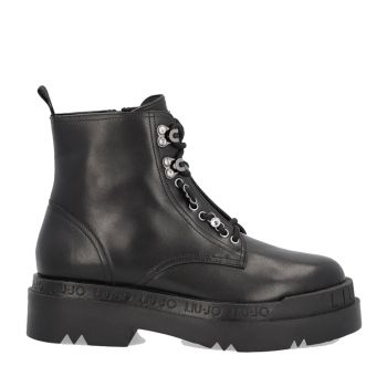LIU JO Black Leather Combat Boots with Platform