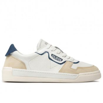 GUESS Strave Line – White Blue Leather Sneakers for Men