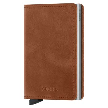 SECRID Vintage Line - Cognac-Silver Leather Slimwallet with RFID