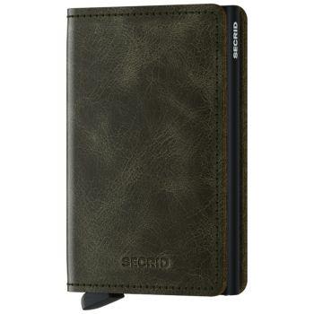 SECRID Vintage Line - Olive-Black Leather Slimwallet with RFID