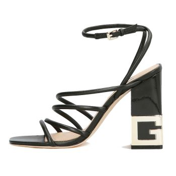 GUESS Tacey Line – Black Leather Sandals