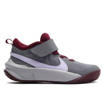 NIKE Team Hustle D 10 Line – Grey Violet Leather Sneakers for Kids