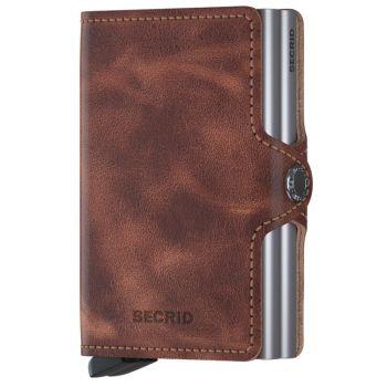SECRID Vintage Line - Cognac-Silver Leather Twinwallet with RFID