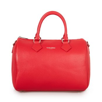 VIAVERDI Red Leather Handle Bag Made in Italy