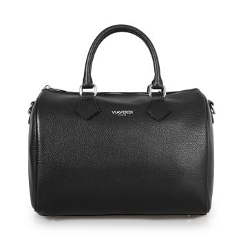 VIAVERDI Black Leather Handle Bag Made in Italy