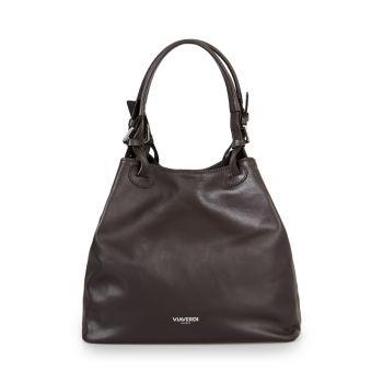 VIAVERDI Dark Chocolate Bucket Bag With Shoulder Strap Made in Italy