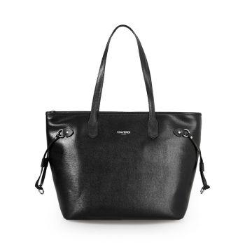 VIAVERDI Black Saffiano Print Tote Bag Made in Italy