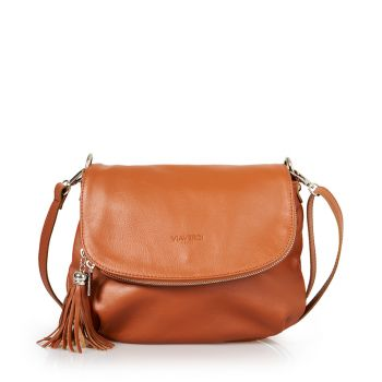 VIAVERDI Tan Leather Shoulder Bag Made in Italy