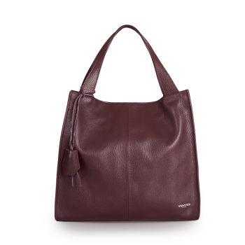 VIAVERDI Bordeaux Leather Tote Bag Made in Italy