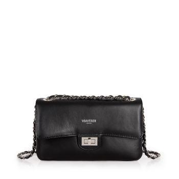 VIAVERDI Black Leather Shoulder Bag Made in Italy