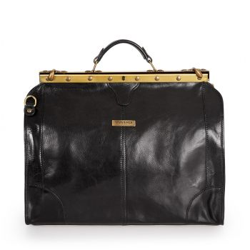 VIAVERDI Large Black Leather Doctor Bag Made In Italy
