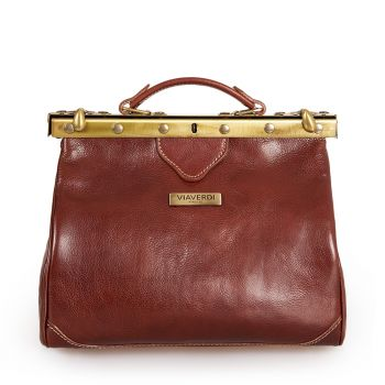 VIA VERDI Medium Brown Leather Doctor Bag Made In Italy